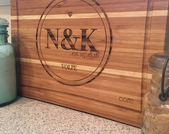 Engraved Wood Cutting Board- Great 5 year Anniversary Gift, Wedding, Anniversary!