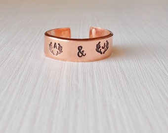 Customized Personalized Hand Stamped Copper Cuff Couple's Ring Anniversary Deer Antlers and Initials with Date on the Inside Adjustable