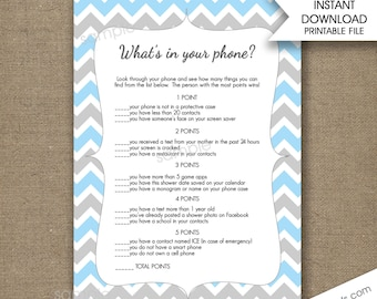 Blue Gray What's in your phone baby shower game, phone game, instant download, cell phone game bridal shower games