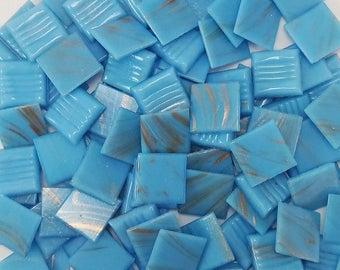 Vitreous glass mosaic tiles, 20x20 mm (3/4 inch), Blue macauba 03