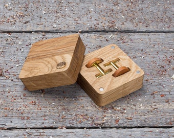 Wooden Cufflinks, monogrammed Round kusia wood cuff links in gift box, free shipping, wedding groomsman set, boyfriend gift personalization