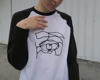 Dessin de ligne broderie blanche contraste chemise à manches longues, broderie à la main, unisexe taille L chemise cousu à la main