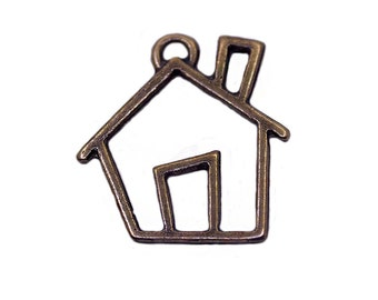 3 pcs Antique Bronze Plated Home Pendant | Bronze Home Charms, House Pendant, Bronze House Pendant