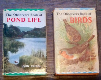 1967 Observer's Books. 1. Pond Life,  2. Birds
