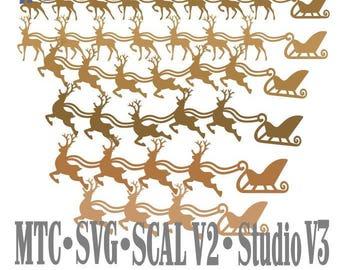 SVG Cutting File Santa Sleigh with Reindeer Design #05 Bundle of 18 Borders Cut File MTC SCAL Cricut Silhouette Cutting File