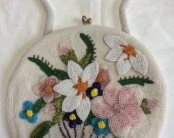 Beaded Floral Purse 1945 Delill