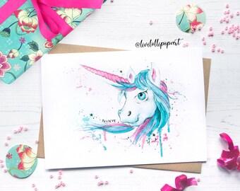 Unicorn card, unicorn birthday card, girly unicorn card, girl birthday card, unicorn daughter birthday card, kawaii unicorn, girlfriend card