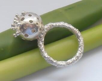 Sphere Ring , Granulation Ring , Heavy textured shank ring, Ball ring