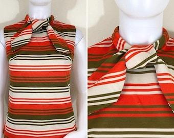 30% Off Sale 60s 70s Act III Mod Orange Green Striped Tie Neck Sleeveless Top, Size Medium
