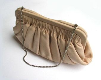Vintage silk fabbric handbag pochette - evening  clutch - 1960s - sixties - 60s