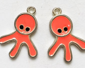 kitschy salvaged neon orange octopus wanna-be enameled pendants--matching lot of 2