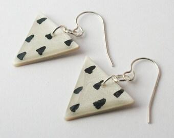 Black and White Triangle Earrings, Geometric Triangle Pattern Earrings, Modern Jewelry, Minimalist Sterling Silver Earrings, Nickel Free
