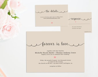 Printable Wedding Invitation Suite, Rustic Formal Wedding Invitation, Wedding Invitation Set, Kraft Paper Wedding Invites