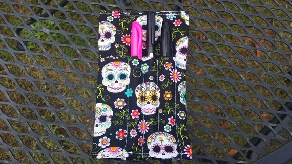 Sugar Skulls Fabric Travel Notebook Cover, Fabric Field Notes Cover, Fabric Planner Cover, Moleskine Cover, Small Notebook Cover