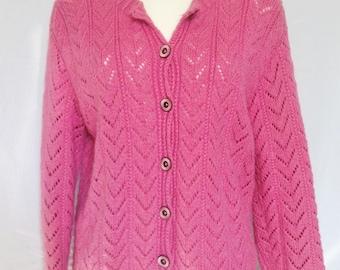 Cardigan / vest, pink, handmade, T 40/42 FR, US 30/40, UK 12/14