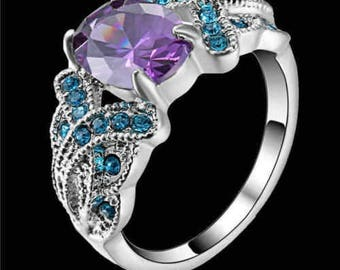 Amethyst & Blue White Rhodium Plated Band Size 9