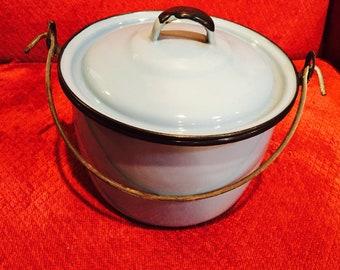 Vintage Blue Enamel Pot With Lid