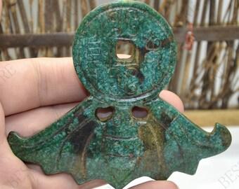 Green Carving bat jade Pendant,bat Jade Pendant, Double Face bat Jade pendant,Jade Pendant Amulet Talisman,Jade Pendant Jewerly