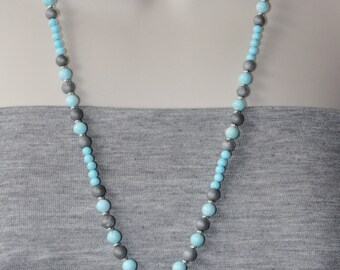Turquoise Necklace / Agate Necklace / Blue Necklace / Long Necklace