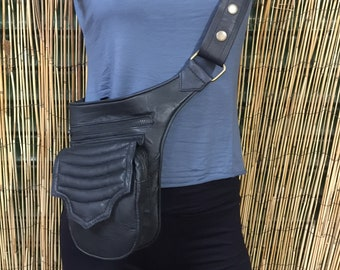 Hip bag Backpack hip bag leather bag/Black color/adjustable strap/handmade/Unisex