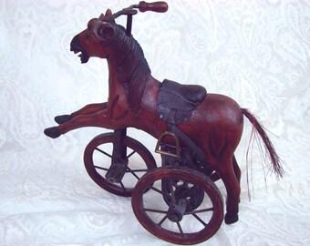 Hand Carved Wood Rocking Tricycle - Trike - Handcarved Folk Art