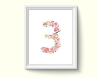 Number 3 Watercolour Painting Drawing Art Print N134