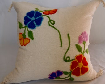 Unique Handmade Mexican style embroidery cushion