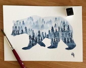 Original-Misty Forest Bear Sillhouette