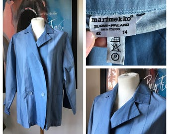 Vintage Marimekko Shirt Jacket / Blue Graphics / Size 42 - 14, fits Medium - Large - X Large / 1970s Finland
