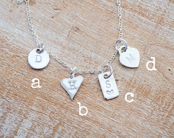 Personalised charm, Hand stamped tag & necklace