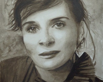 Portrait of Juliette Binoche, sepia, original watercolor painting, French theater actress