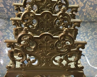 French Art Nouveau Brass Letter Rack