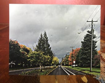 Rainy Fall Driving Note Card