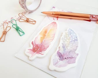 Pretty Watercolour Feather Sticky Notes - Pink and Purple
