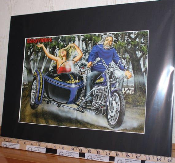 """David Mann """"Family Ride"""" 16'' x 20'' Matted Biker Art #9707ezrxmb"""