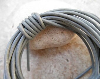 Round Leather Cord - 1 mm - Shimmer - By the Yard