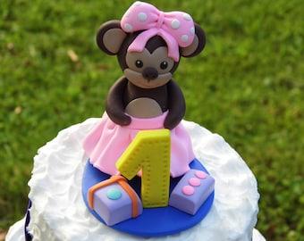 Monkey cake topper, Pink birthday cake decor, 1st birthday cake topper, Monkey birthday party theme, Personalized cake topper, Monkey figure