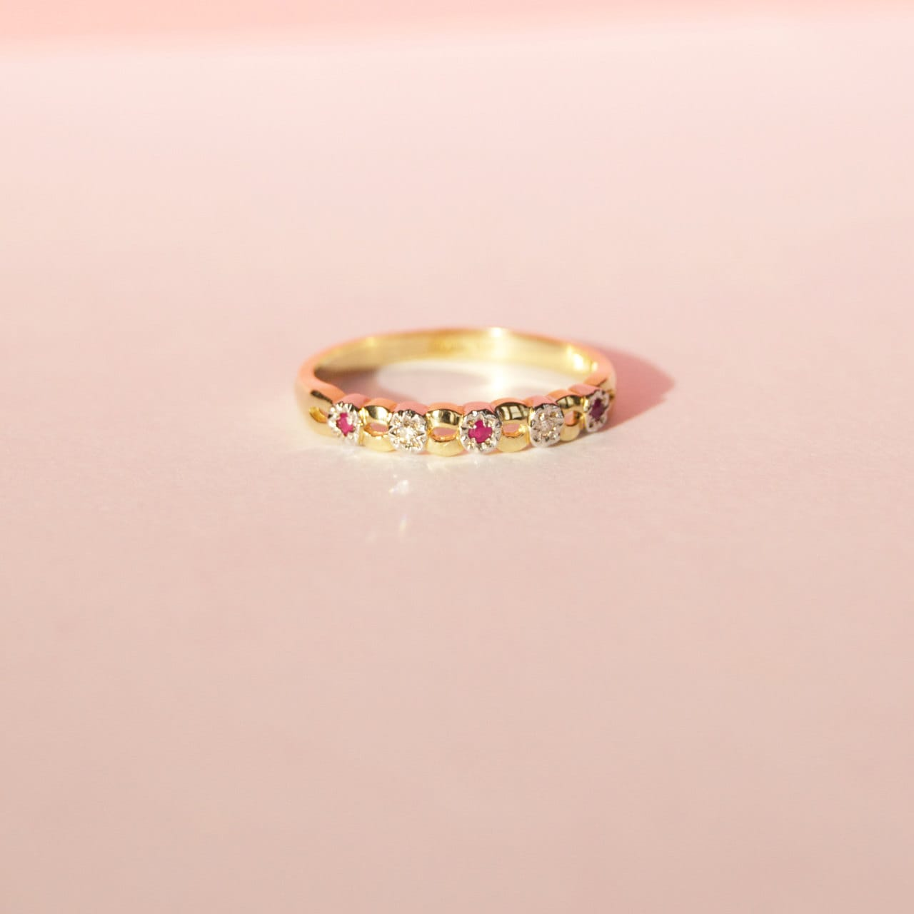 Diamond antique ring 9ct gold ring diamond and ruby ring
