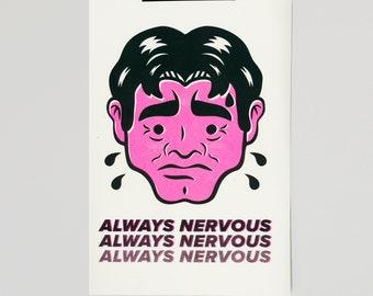 Always Nervous A4 Risograph Print