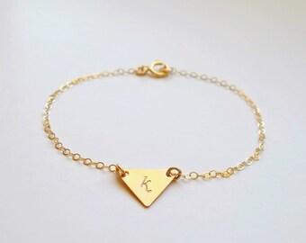 Triangle bracelet, Initial triangle bracelet, Personalized triangle bracelet, Dainty bracelet, Dainty initial bracelet Gold filled triangle