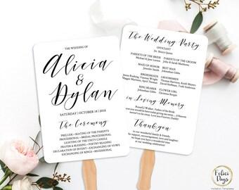 Wedding Fan Program Editable Template, Wedding Calligraphy Script Printable Fan Program, Simple Elegant Program Ceremony Fan TEMPLETT AB520