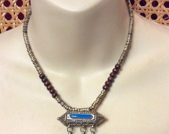 Vintage 1930's Egyptian Revival long tube bead turquoise enamel necklace