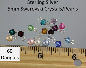60 (sixty) Sterling Silver simple loop wire wrapped 5mm Swarovski crystal bicone or round pearl dangles - birthstone colors & more