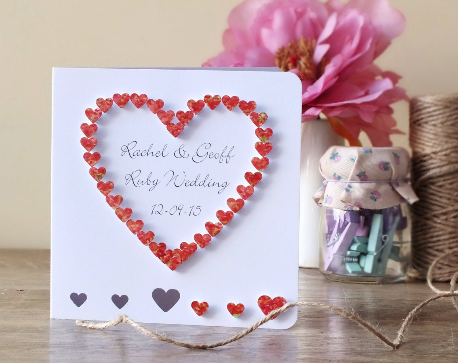 Handmade 3d 40th ruby wedding anniversary card 40th zoom thecheapjerseys Images