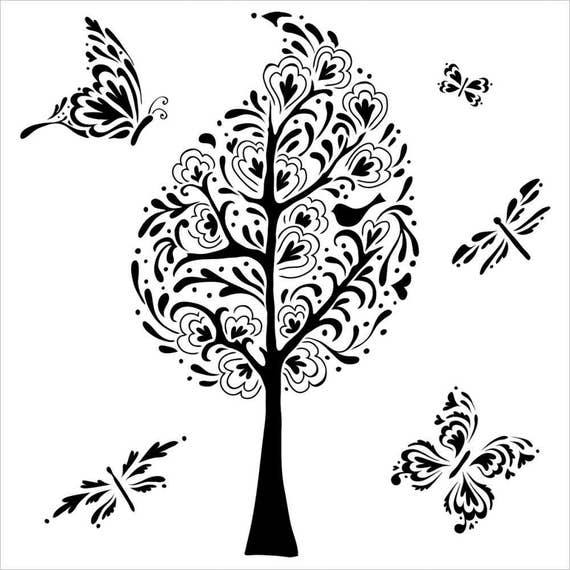 """Whimsy Garden 6"""" x 6"""" Stencil -tree, butterfly, and more  template design perfect for mixed media, scrapbooking, journaling and so much more"""