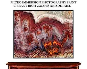 Mineral Photography, (Print # 3),  Agate Slice, Fine Art Print, micro photography, Mineral, Geode, Agate, Crystal Decor