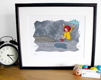 """Girl Forever Young, Puddle Jumping Print (10"""" x 12"""") unframed"""