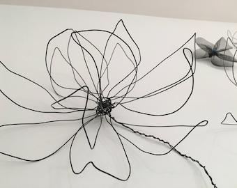 wire flower wall decor. one flower. Wire art. Black wire. Wall decor. Interior design. Wall art. Natural design. 100% handmade.