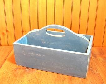 Wood Tote Box, Blue Tote Box, Vintage Tote Box