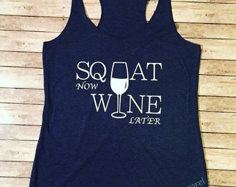Squat Now Wine Later Ladies Triblend Tank